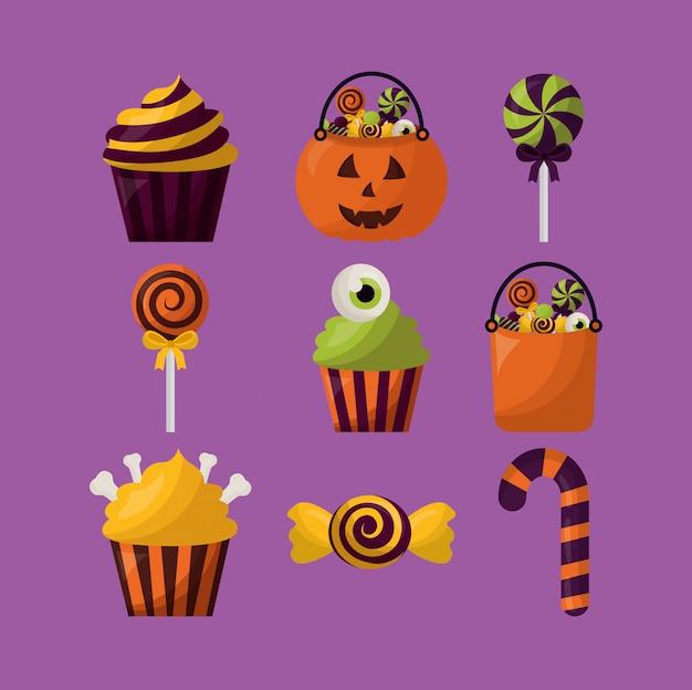 Paquete de iconos de dulces de halloween set