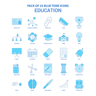 Paquete de iconos de educación tono azul