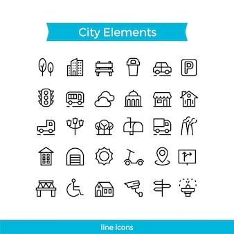 Paquete de iconos de elemento de ciudad