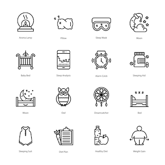 Paquete de iconos de entrenamiento y dieta