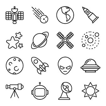 Paquete de iconos espaciales, estilo de icono de contorno