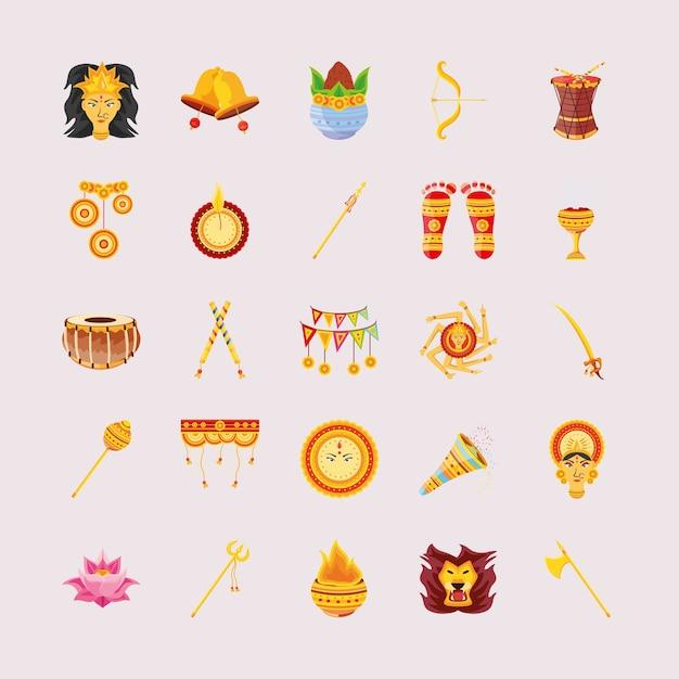 Paquete de iconos festival navratri