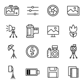 Paquete de iconos de fotografía, estilo de icono de contorno