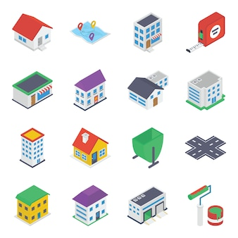 Paquete de iconos isométricos de bienes raíces