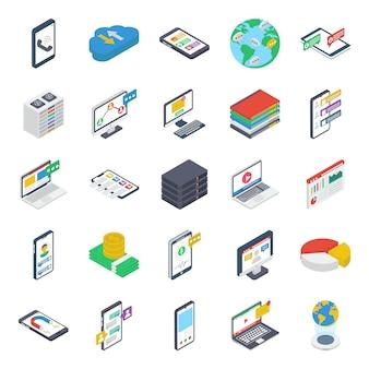 Paquete de iconos isométricos de comunicación en línea