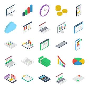 Paquete de iconos isométricos de finanzas