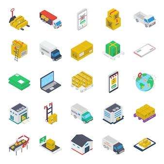 Paquete de iconos isométricos de furgoneta de reparto