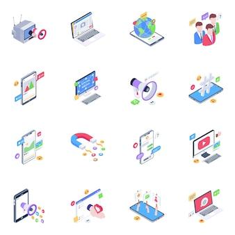 Paquete de iconos isométricos de medios