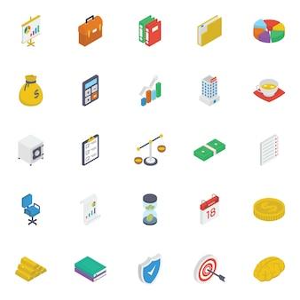 Paquete de iconos isométricos de negocios
