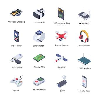 Paquete de iconos isométricos de tecnologías inalámbricas