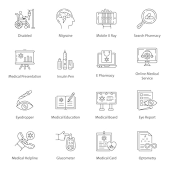 Paquete de iconos de línea de accesorios médicos