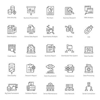 Paquete de iconos de línea de análisis de datos