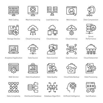 Paquete de iconos de línea de big data