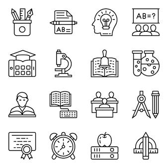 Paquete de iconos de línea de herramientas educativas