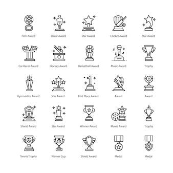 Paquete de iconos de línea de logros