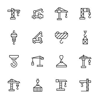 Paquete de iconos de línea de máquina de grúa