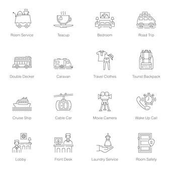 Paquete de iconos de línea de servicios de hotel