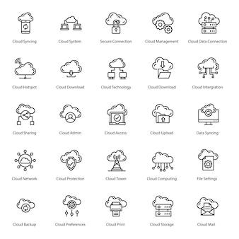 Paquete de iconos de línea de servidor en la nube
