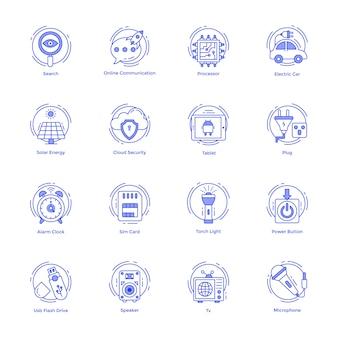 Paquete de iconos de línea de tecnología y hardware