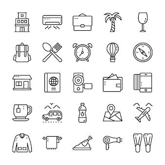 Paquete de iconos de la línea de viaje y hotel
