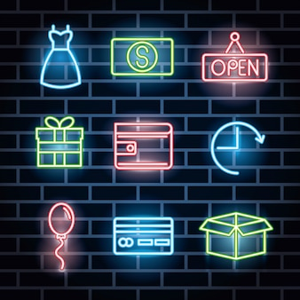 Paquete de iconos de luces de neón