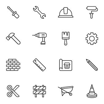 Paquete de iconos de mano de obra y construcción, estilo de icono de contorno