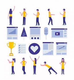 Paquete de iconos de marketing de redes sociales y comunidad