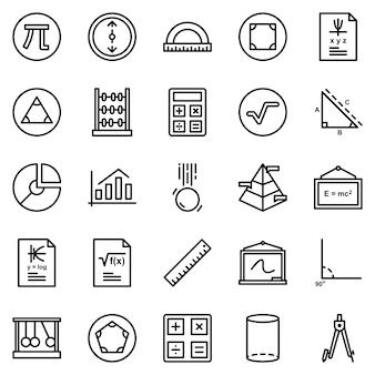 Paquete de iconos matemáticos, con estilo de icono de esquema