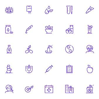 Paquete de iconos de medicina alternativa, con estilo de icono de esquema