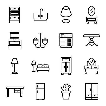 Paquete de iconos de muebles, estilo de icono de contorno