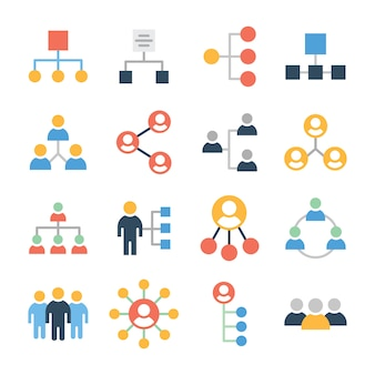 Paquete de iconos de organización del equipo