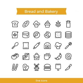 Paquete de iconos de pan y panadería, estilo de línea