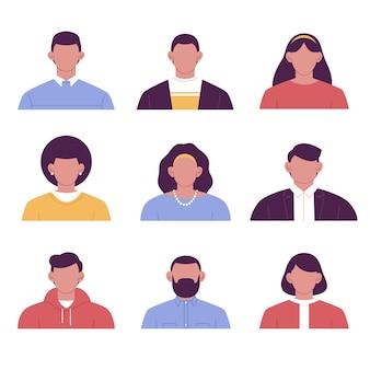 Paquete de iconos de perfil en estilo dibujado a mano