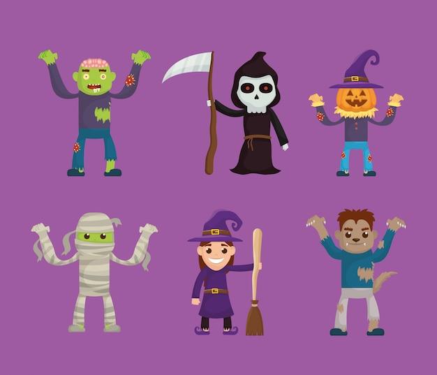 Paquete de iconos de personajes set de halloween