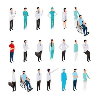 Paquete de iconos y personal médico profesional