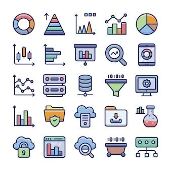 Paquete de iconos planos de análisis de datos y gráficos