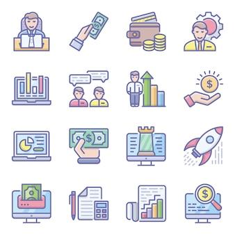 Paquete de iconos planos de análisis de datos