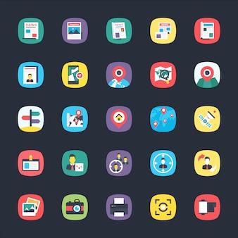 Paquete de iconos planos de aplicaciones