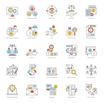 Paquete de iconos planos de business analytics