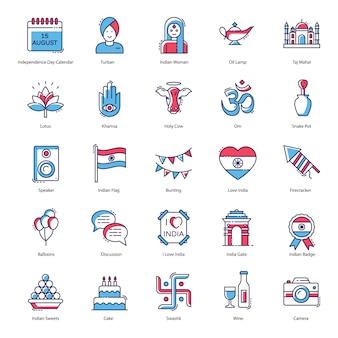 Paquete de iconos planos de celebración del día de la independencia de india