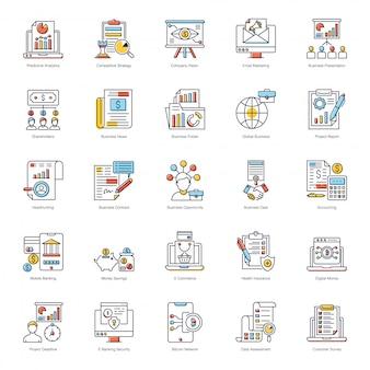 Paquete de iconos planos de crecimiento empresarial