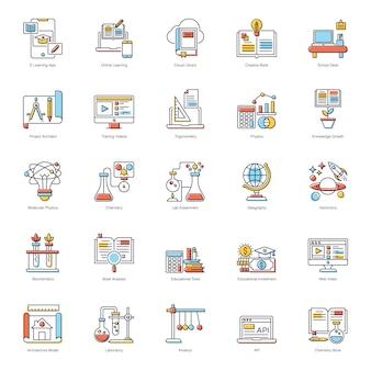 Paquete de iconos planos de e learning
