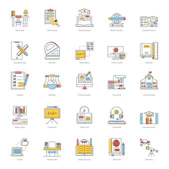 Paquete de iconos planos de educación en línea