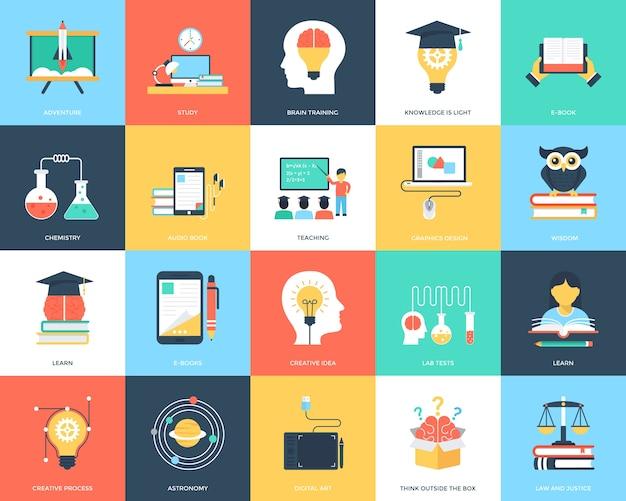 Paquete de iconos planos de educación