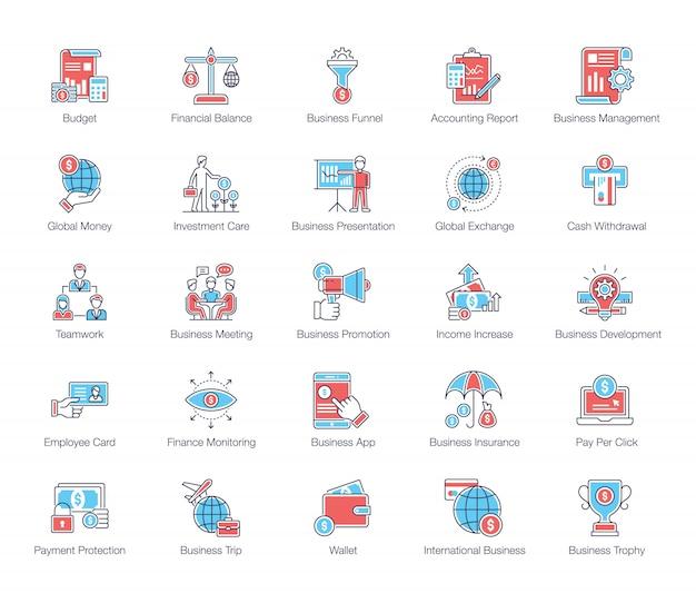 Paquete de iconos planos de finanzas