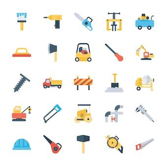 Paquete de iconos planos de herramientas de mantenimiento y sitio