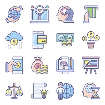 Paquete de iconos planos de inversión