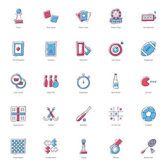 Paquete de iconos planos de juegos de apuestas