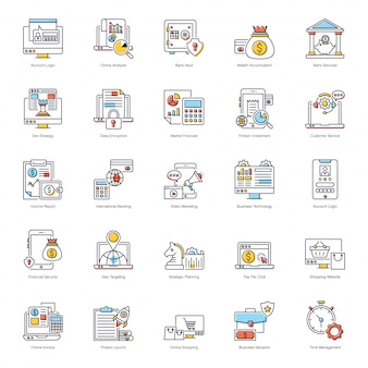 Paquete de iconos planos de marketing por correo electrónico