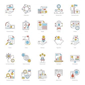 Paquete de iconos planos de negocios en línea